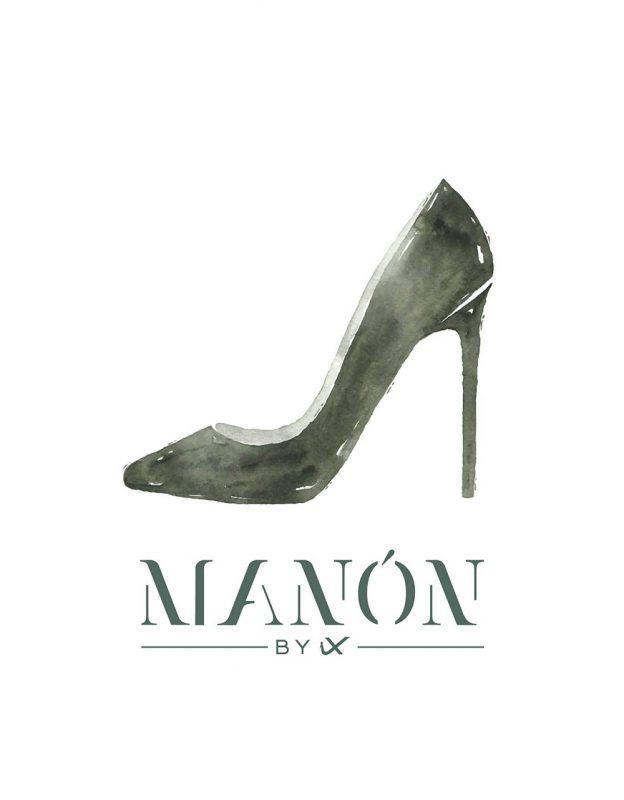 logo de zapateria manón con dibujo de zapato